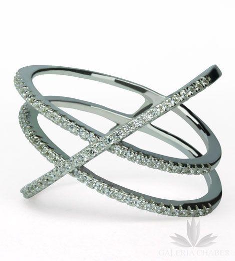 Multiring ze srebra rodowanego, wysadzany cyrkoniami