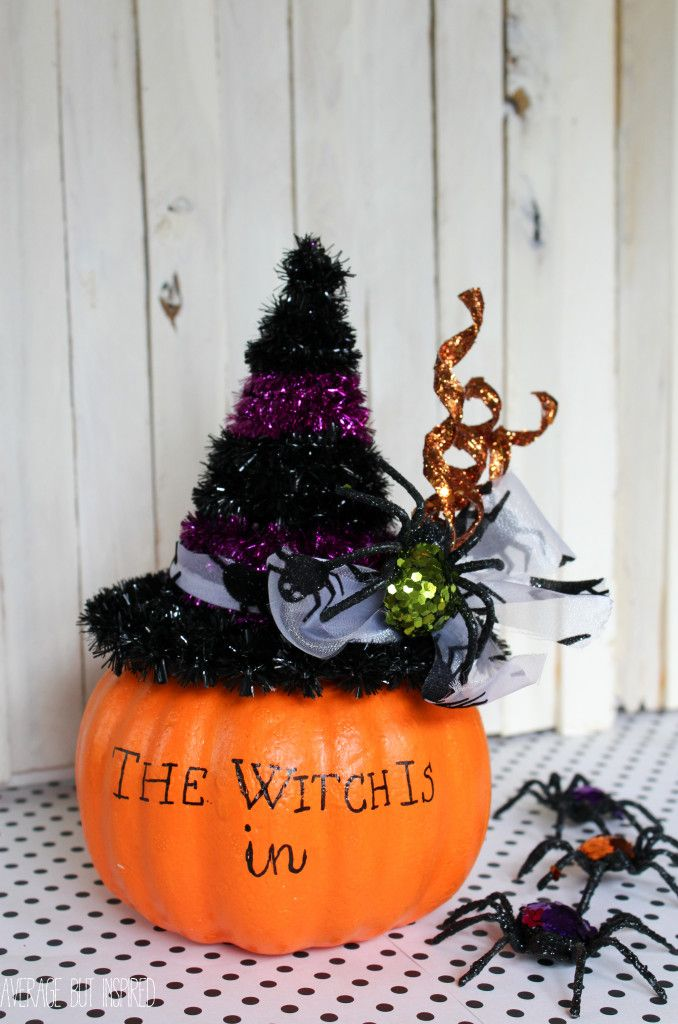 Turn a fake pumpkin into an adorable witch craft for Halloween!