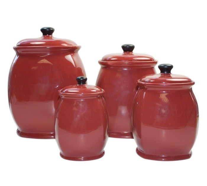 Attractive 25836a7efc91bd6a260ba6d89bf50100  Red Canisters Kitchen Canister Sets