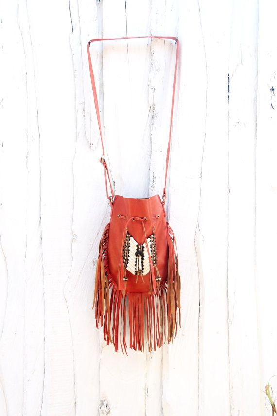 Fringe leather bag boho leather purse orange  fringe by etnikabali