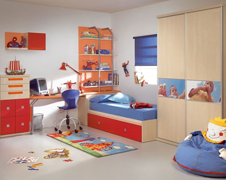 White Wall Color Kids Bedroom Designs With Cream And Orange
