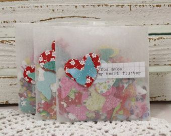 100 Hearts and Butterflies Mixed Punch outs Made with all Different types of Pretty Scrapbook Paper
