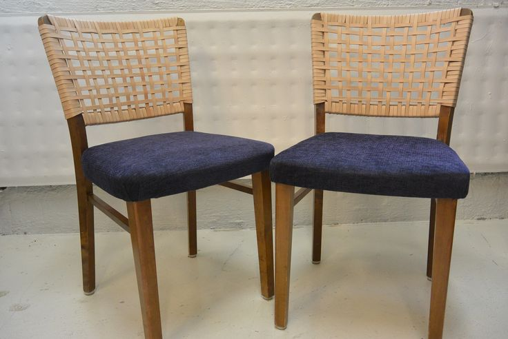 Nupponen nahkapunonta tuolit , selkä  uusittu ja istuin verhoiltu , sekä uudet pehmusteet