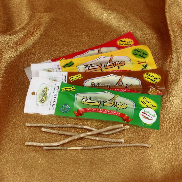 Miswak - simply a branch from Arrack tree, it is the oldest know form of a toothbrush used in arabic countries for centuries. Contains natural silica that cleans your teeth and mouth inside.
