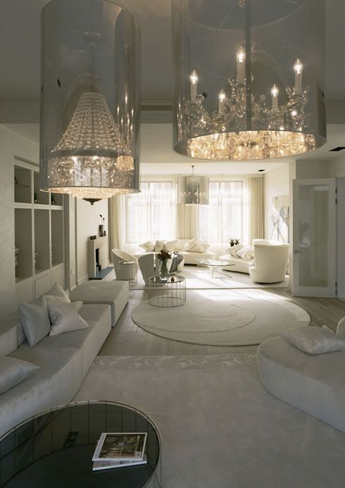 All white.  Acrylic Reflective Encased Chandeliers.