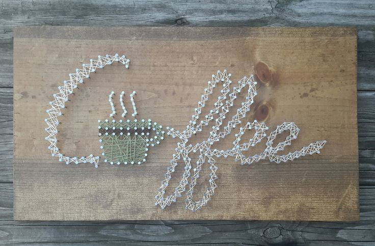 Coffee Wooden String Art Sign, Kitchen Decor by CarolinaStrings on Etsy