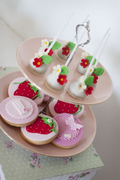Lovely cake pops and cookies at a strawberry tea party #strawberry #teaparty