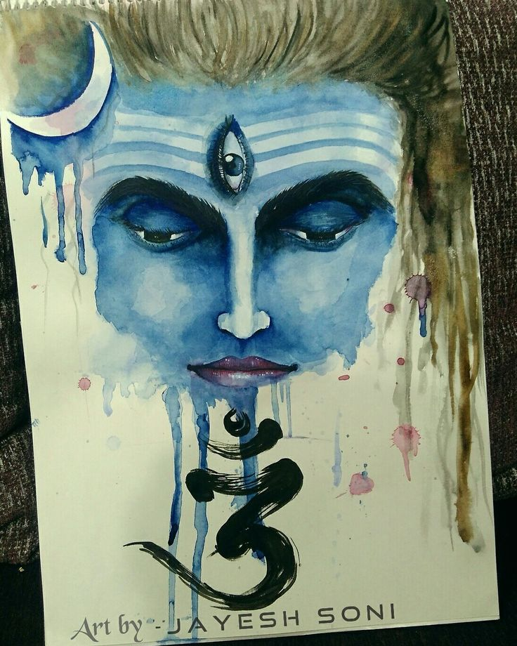 Tittle lord shiva size a3 medium watercolors art by