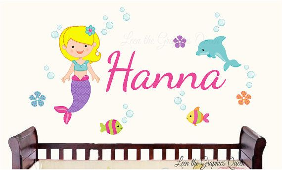 Wall Decal Mermaids Sea Animals Name Decal Dolphin Fish Flowers Under the Sea Girls Bedroom Nursery Decor Decoration Personalized Girl Decal on Etsy, $35.00