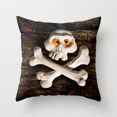 Mr. Skull Throw Pillow by Martin Misik - $20.00 // #skull #wood #skeleton #plasticine #clay #sculpting #funny #bones #yellow #eye