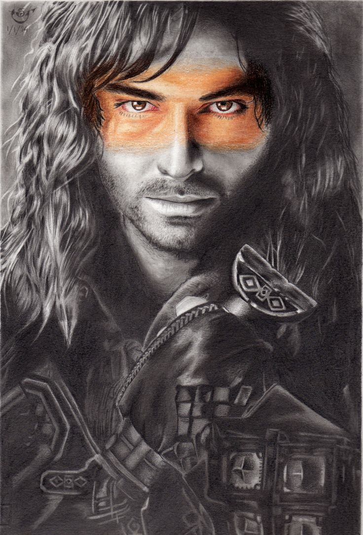 Drawing in graphite and color of Kili, The Hobbit's character