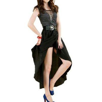 Women Asymmetrical High Low Hem Elastic Waistband Ruffled Skirt XS