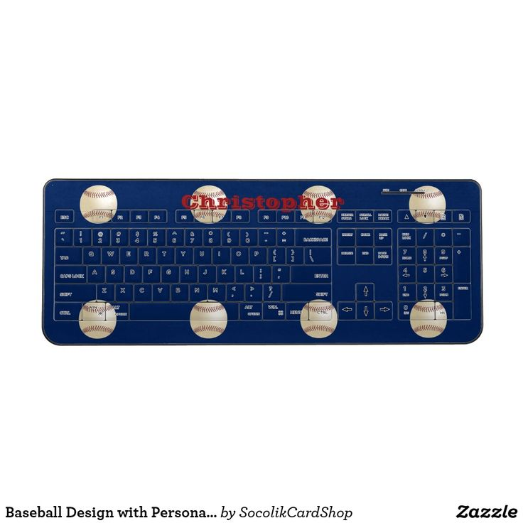 Baseball Design with Personalized Player/Fan Name Wireless Keyboard This personalized Wireless Keyboard is decorated with baseballs on a dark blue background. You can easily change or delete the name. Sports fans will love it! All Rights Reserved © 2017 Alan & Marcia Socolik.