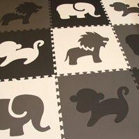 Safari Animals Foam Mats Black, White, Gray - Customizable from Soft Tiles
