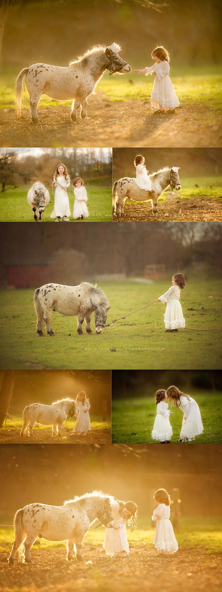 sisters with white horse in back lighting, ahhhh