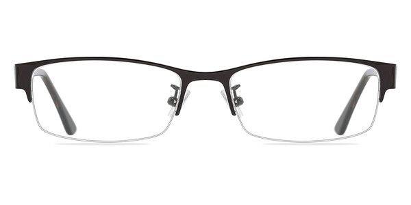 Add a touch of style to a utilitarian look with these coffee eyeglasses. This semi-rimless metal frame features a matte brown frame front with rectangular shaped lenses. The semi-transparent acetate temples are a glossy striated brown and display a windowpane inspired cutout. Adjustable nose pads make this look pleasant for both men and women. @EyeBuyDirect