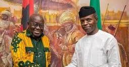 The Acting President Yemi Osinbajo on Tuesday received the visiting Ghanaian President Nana Akufo-Addo at the Presidential villa Abuja. Mr. Akufo-Addo arrived at the Villa at about 11.12 a.m. and was welcomed by Mr. Osinbajo who ushered him into the acting presidents office through a red carpet. The visit lasted for barely four minutes as the Ghanaian leader proceeded immediately to the National Defence College to deliver a lecture to the college graduands.  Mr. Akufo-Addo won the countrys…