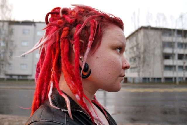 Martje. Red dreadlocks