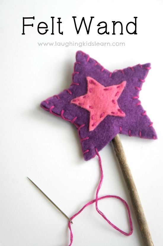 Star felt play wand. This would be the perfect kids craft idea for a fairy costume or just a good project to teach kids to sew by hand.