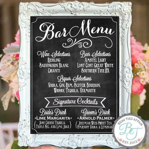 """Wedding Bar Menu Chalkboard Sign • Personalized Wedding Menu •  (18"""" x 24"""")"""