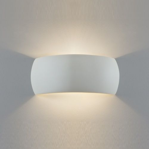 7073 Milo Wall Light - Wall washer made from plaster with a white finish. can be painted if required. Light is directed up