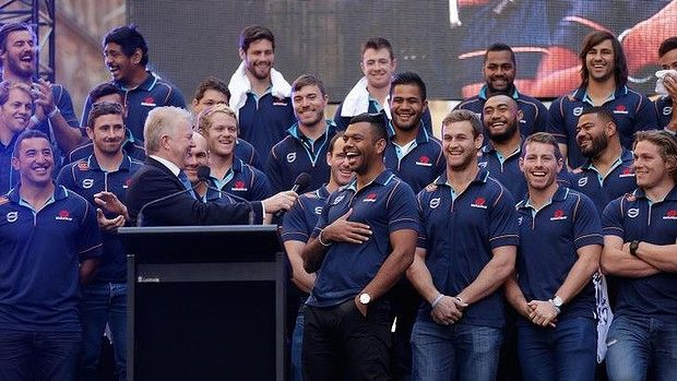 Not giving anything away: Kurtley Beale was keeping his cards close to his chest as the Waratahs were honoured in Martin Plae.