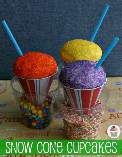 Snow Cone Cupcakes for April Fool's Day...or anytime
