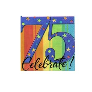 """""""75th"""" Ultra Beverage Napkins (A Year to Celebrate) 16/pkg"""
