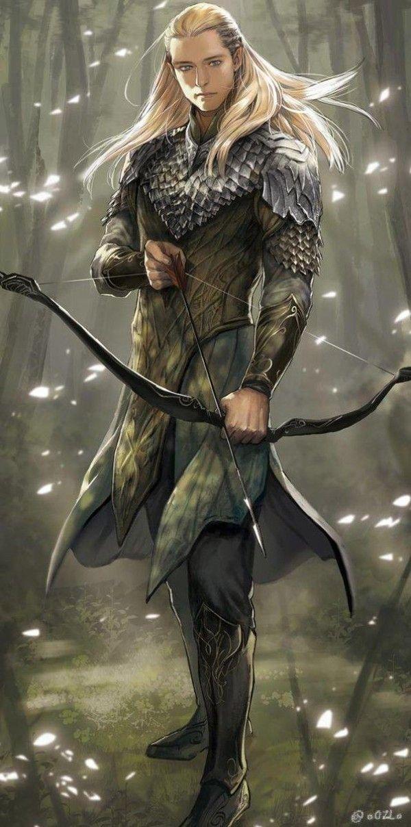 Legolas / Elfe Archer / Seigneur des Anneaux / Tolkien / dessin oOZLo