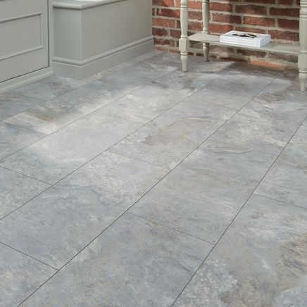 Professional V Groove Grey Slate laminate tile - Howdens Bathroom