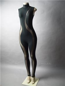 Black Sheer Mesh Cutout Turtleneck Women Unitard Bodysuit Catsuit S | eBay