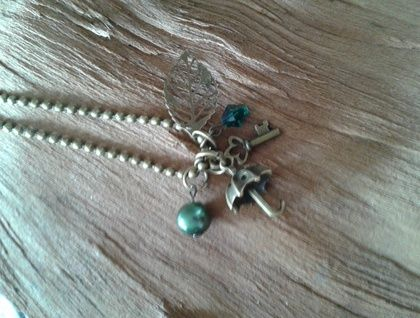 Antique Bronze and Swarovski Crystal Mary Poppins Charm Necklace