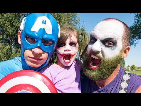 Bearded Joker vs Killer Clown vs Death, Batman, T-Rex, Zombie Gorilla | Real Life Superhero Movie! - YouTube