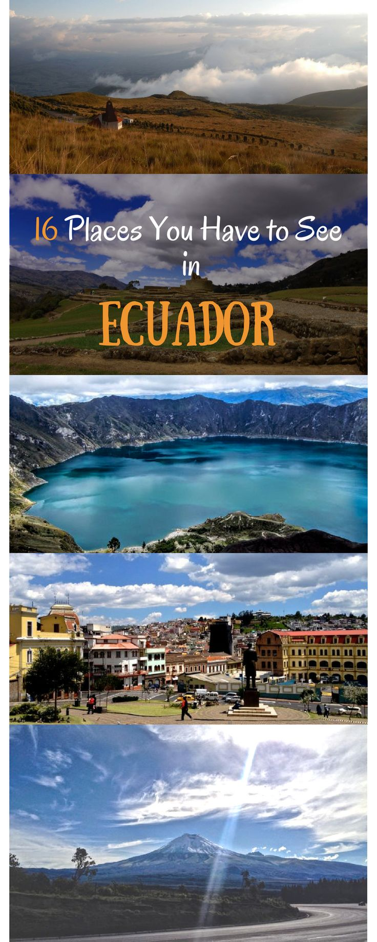 You want to travel to Ecuador? Here are 16 places you shouldn`t miss out on. Ecuador is simply amazing with it`s beautiful colonial cities like Quito, incredible national parks, beautiful beaches, Jungle and stunning volcanos. Some Must-See places are Quito, Laguna de Quilotoa, Volcano Cotopaxi, Yasuni National Park, Otavalo, the cloud forest of Mindo and many more #travel #ecuador #southamerica #quito #otovalo #montanita #mindo #guayaquil #quilotoa #banos Thanks a million for repinning
