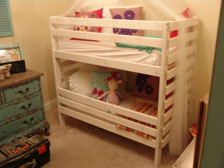"""Toddler Bunk Bed  Only 48"""" tall and designed to use crib mattresses."""