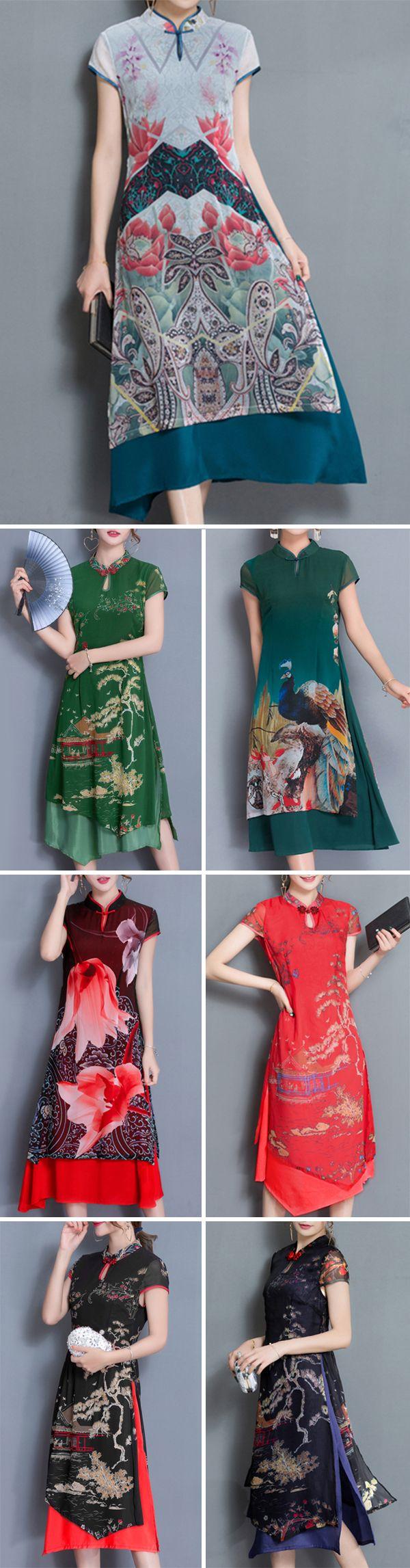 Vintage Retro Style Women Printed Stand Collar Slim 7Colors Dresses