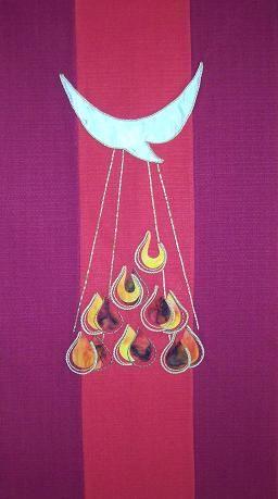 kerkelijke stola | Rood , de felle kleur van de Heilige Geest, hoort dus bij Pinksteren ...