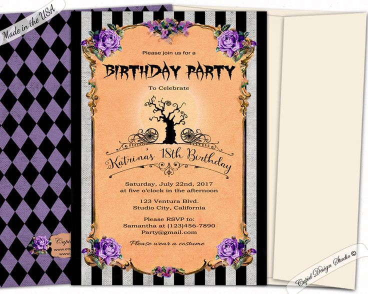 Best Birthday Invitations Images On Pinterest Etsy Shop - Halloween birthday invitations etsy