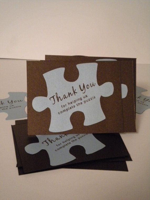 Puzzle Piece Thank You Cards  Set of 10 by 715designstudio on Etsy, $25.00