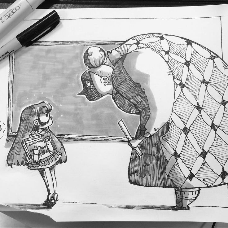 Matilda and Mrs Trunchbull drawing for a warm up exercise at school. #Matilda #doodle #sketchbook #art #womenincomics #roahldahl #books #ink #illustration #copic #drawing