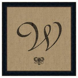 """Showcasing a scrolling monogram against a burlap-inspired background, this calligraphic art print is an artful addition to your walls. Made in the USA.   Product: Wall artConstruction Material: Paper, wood and glassColor: Black frameFeatures:  Made in the USAArchival-quality, 100% acid-free paperDimensions: Unframed: 18"""" H x 18"""" WFramed: 21"""" H x 21"""" W"""