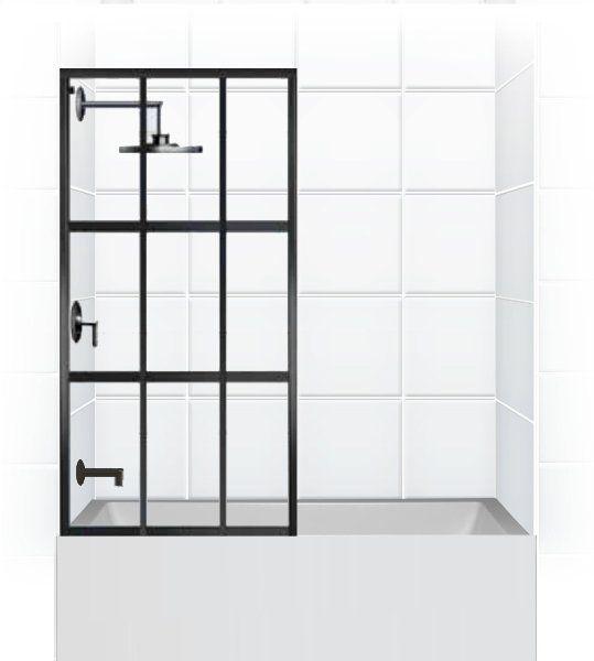 """井 GRIDSCAPE™ Series [Patent Pending] Fixed Panel TUB """"Window Panes / Factory Window"""" Shower Partition by Coastal Shower Doors. www.coastalind.com"""