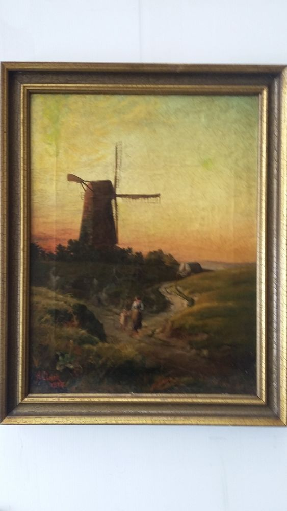 "A. CLARK (19th C) - FINE ANTIQUE, ENGLISH - OIL / CANVAS PAINTING -1884 -18""x14"" #Realism"