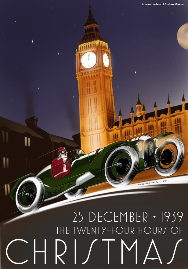 Christmas auto rally poster