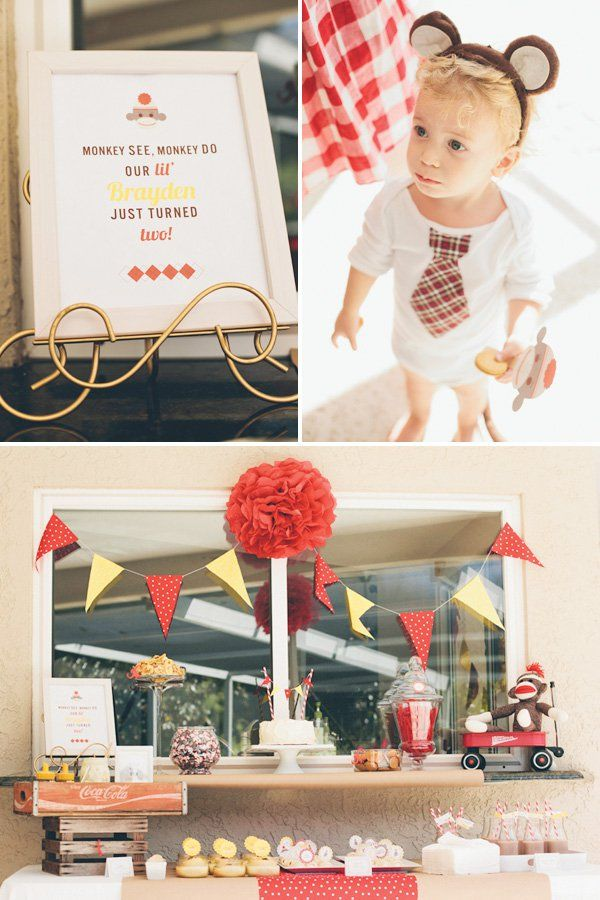 Classic & Cute Sock Monkey Birthday Party with chocolate milk, barrel rolls, a monkey outfit for the birthday boy & banana nutella cupcakes.