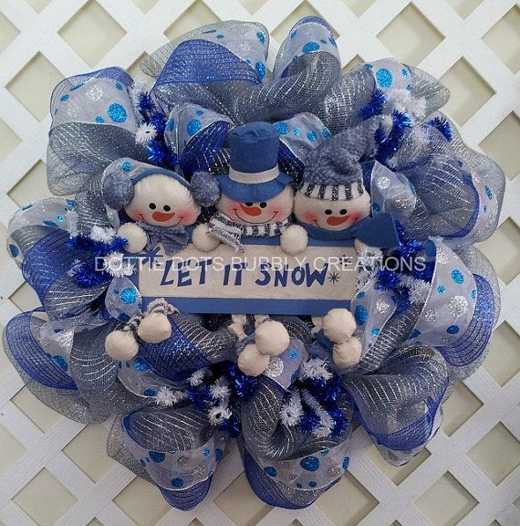 Whimsical Snowman Let It Snow Trio Mesh Wreath by dottiedot05