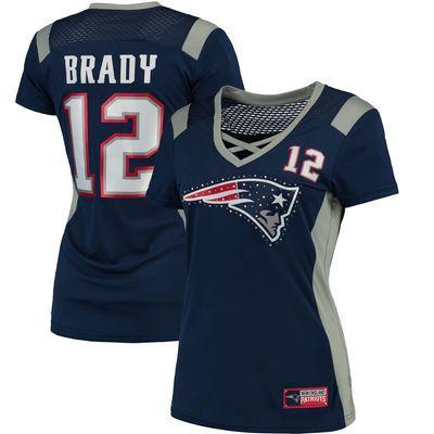 Majestic Tom Brady New England Patriots Women's Navy Draft Him Name & Number Fashion T-Shirt