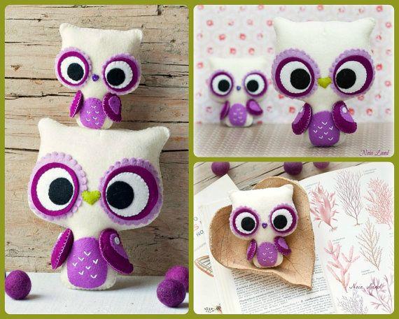 PDF. Big eyes owl and small owl brooch. Plush Doll Pattern, Softie Pattern, Soft felt Toy Pattern.