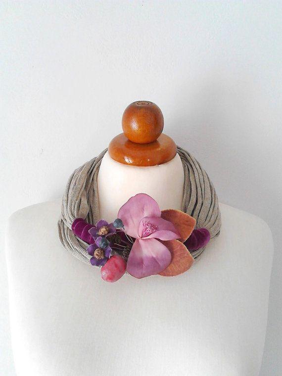 Purple Flower Necklace Bridesmaid Jewelry Flower by PlexisArt