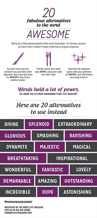 """""""20 Fabulous alternatives to the word 'awesome'."""" @Eva Schon Hahaha...I think maybe we needed this."""